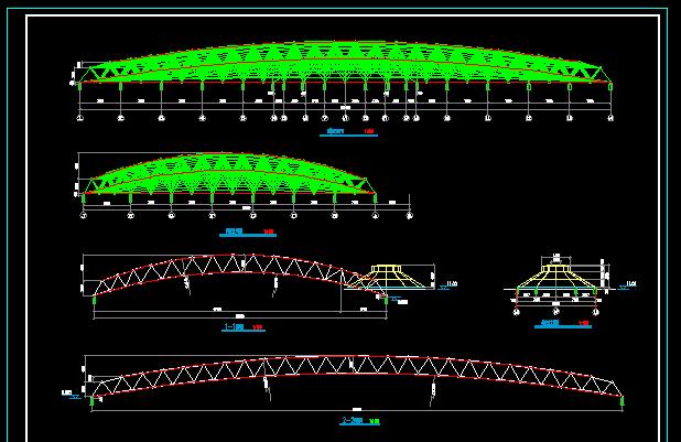 实习基地室内跑马场屋面网架全套设计图纸