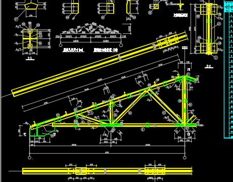 模具车间钢结构管桁架屋面施工图纸