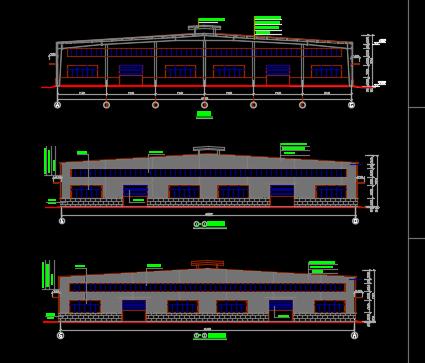 单层门式刚架钢结构厂房建筑及结构施工图纸