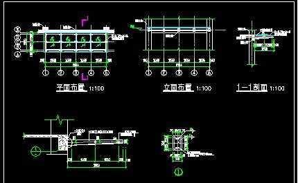 电脑城玻璃雨棚钢结构图纸