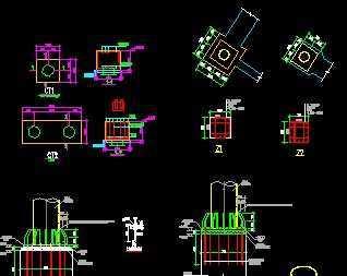 圆钢柱基础柱脚节点详图免费下载 - 钢结构 - 土木