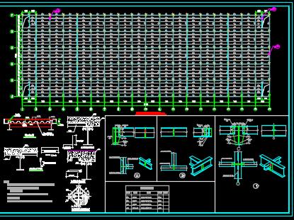 大型钢框架二层工业厂房建筑结构施工图纸