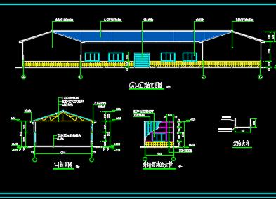 某地三角形钢屋架、钢管柱结构施工图纸