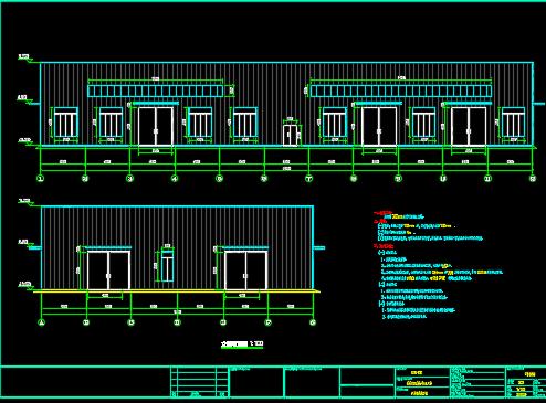 带行车双坡36.4m轻钢厂房设计图纸