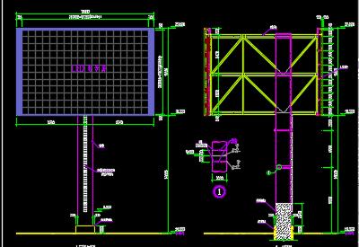 600平米led显示屏钢结构施工图纸