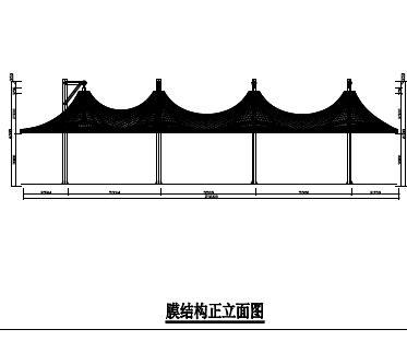 骨架膜结构吊伞结构施工图纸(四个连体,pdf)