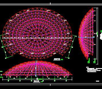 椭球体双曲面球壳网架结构施工图纸(弹性支座)
