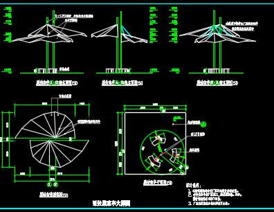膜结构凉亭及曲桥施工图纸