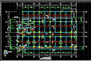 六层教学楼框架结构施工图纸