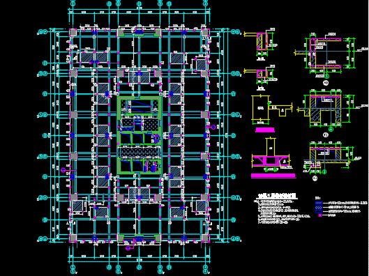 23层框架核心筒办公楼结构施工图纸