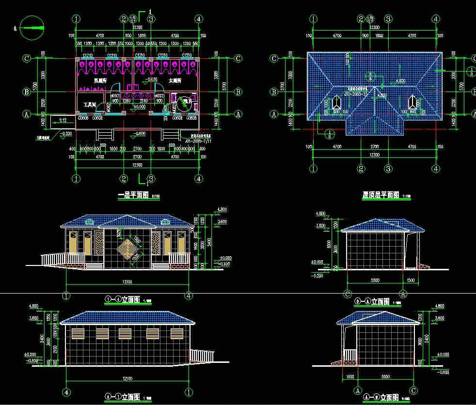 公共厕所建筑、结构施工图纸