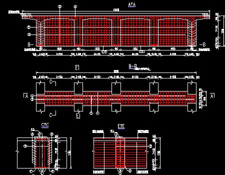 预应力混凝土连续t梁桥墩顶现浇连续段钢筋布置图