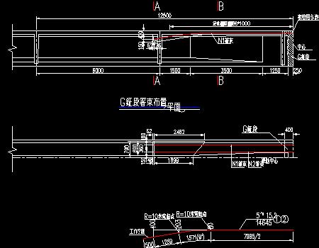 预应力混凝土连续t梁桥墩顶现浇段负弯矩钢束及定位钢筋布置图
