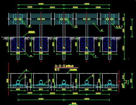 A、B型路侧波形梁钢护栏设计图纸
