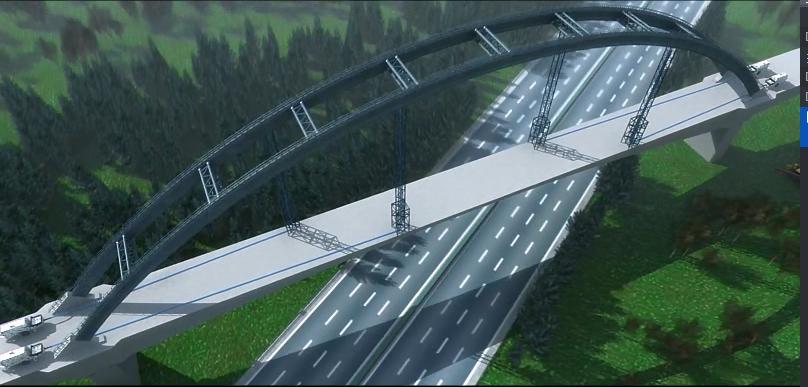 铁路跨高速180m连续梁拱桥施工技术视频讲解