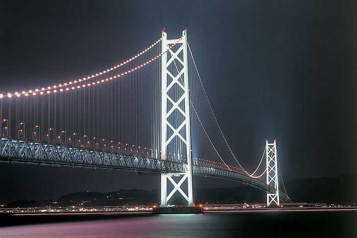 世界上目前最长的吊桥-明石海峡大桥