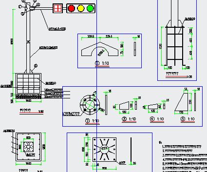 交通安全设施大样图包括交通平面设计图、道路交通平面标准段布置图、道路交通标线大样图、交通信号灯设计大样图、人行道信号灯设计大样图等