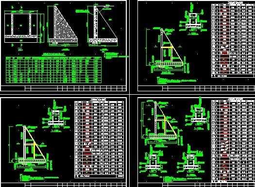 4-12米扶壁式挡土墙设计图免费下载 - 桥梁图纸