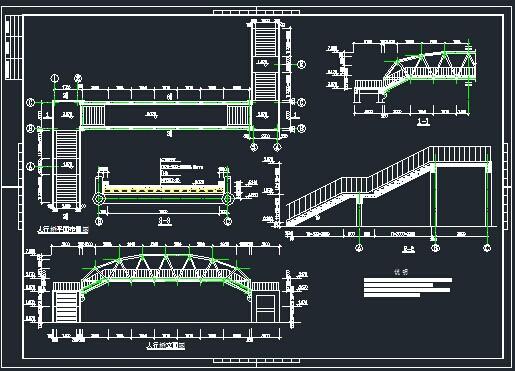 鋼結構過街天橋施工圖紙免費下載 - 橋梁圖紙 - 土木