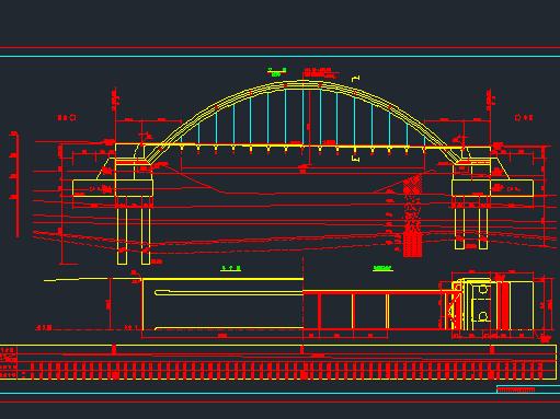 72米中承式拱桥图纸施工图纸免费下载-图纸钢管大凤桥梁设计图片