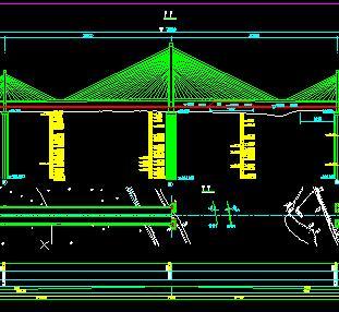 三塔连续箱梁斜拉桥全套施工图纸