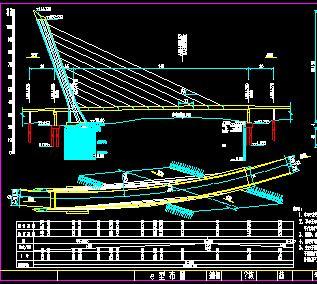 140米无背索斜拉桥桥梁全套施工图纸