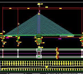 双索面H形塔独塔混凝土斜拉桥全套施工图纸
