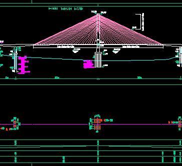 主跨2x223米斜拉桥桥梁全套施工图纸