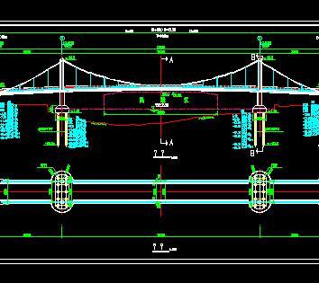 120米三跨自锚式悬索桥全套施工图纸