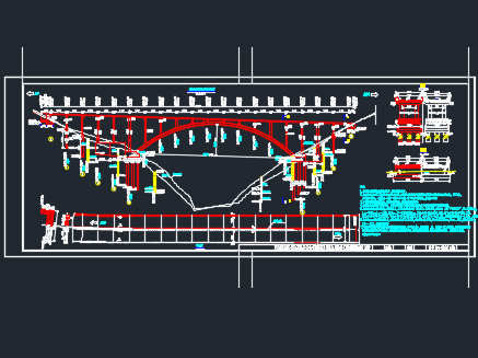 主跨为净跨130米钢筋混凝土箱形拱桥施工图纸