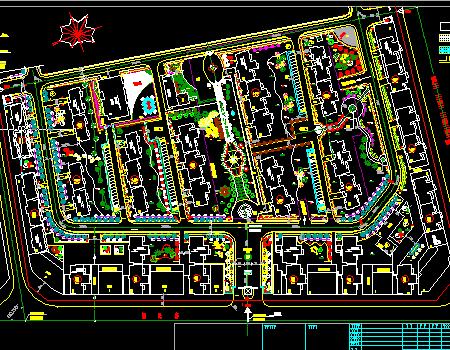 小区道路景观图纸绿化工程施工图免费下载-其进料斗市政图片