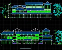 三层仿古中式客栈建筑施工图