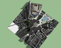 欧式喷泉广场SketchUp模型