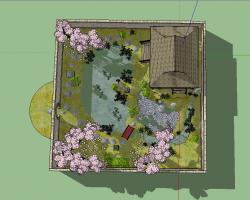 日式小花园SketchUp模型
