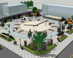 时钟休闲广场SketchUp模型
