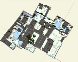 古建花园园林景观SketchUp模型