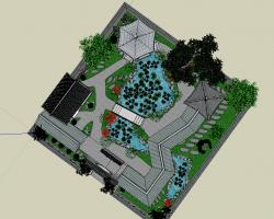 中式小型古典园林SketchUp模型