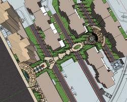 住宅区中心景观SketchUp模型