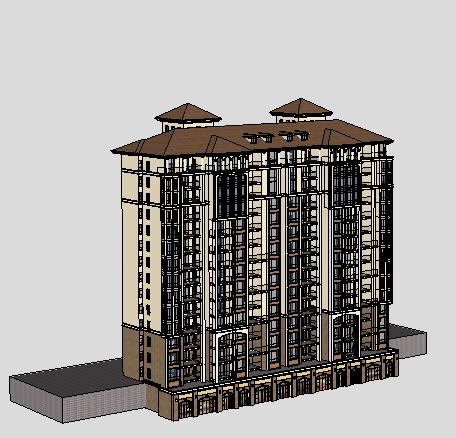 十四层欧式住宅楼sketchup模型