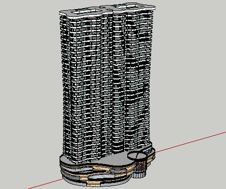 现代高层带底商住宅楼SketchUp模型