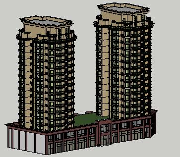 带底商十七层住宅楼SketchUp模型