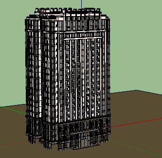 二十层底架空住宅楼SketchUp模型