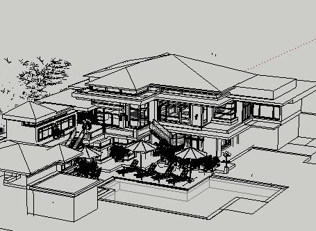 两层欧式酒店sketchup模型