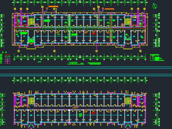 五层宿舍楼水暖平面设计图