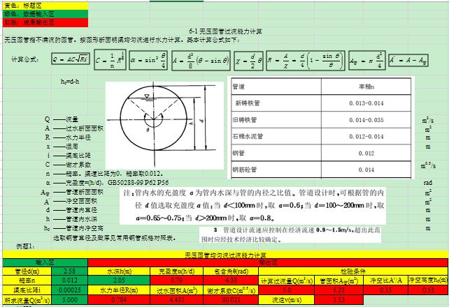 无压圆管均匀流水力计算