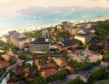滨海别墅区中式园林设计3Dmax模型