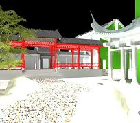 中式园林庭院小景3DMAX模型