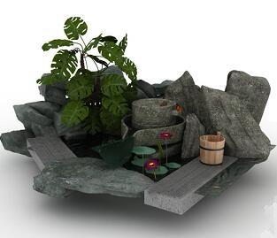 园林小品假山花池3Dmax模型