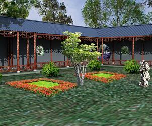 中式园林回廊设计3DMAX模型