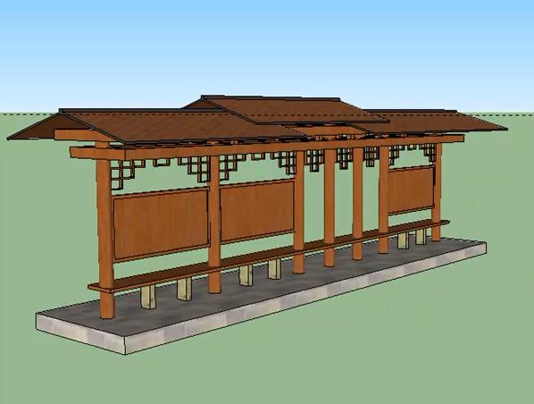 中式公交站台模型视频教程